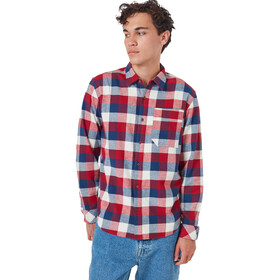 tentree Benson Flannel LS Shirt Men dark ocean blue campfire plaid